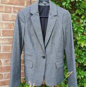 Express Studio gray fitted suit jacket blazer 4